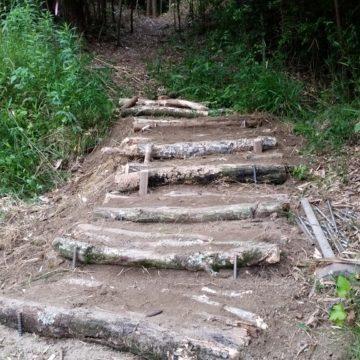 森の中の階段作り